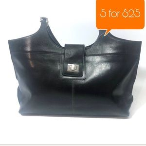 A.Giannetti black leather satchel hand bag